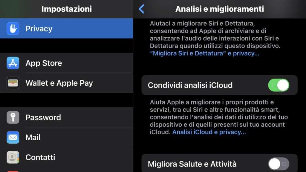 Cicli di ricarica della batteria dell'iPhone condividi analisi iCloud