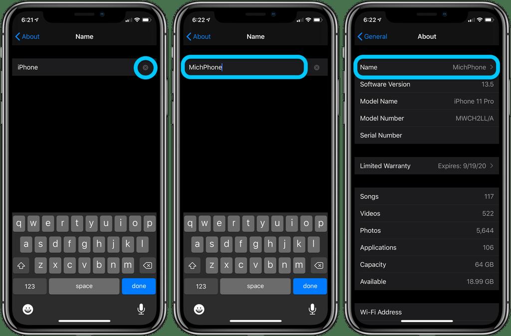 Come cambiare il nome dell'iphone2