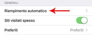 Rimuovere il riempimento automatico su iPhone