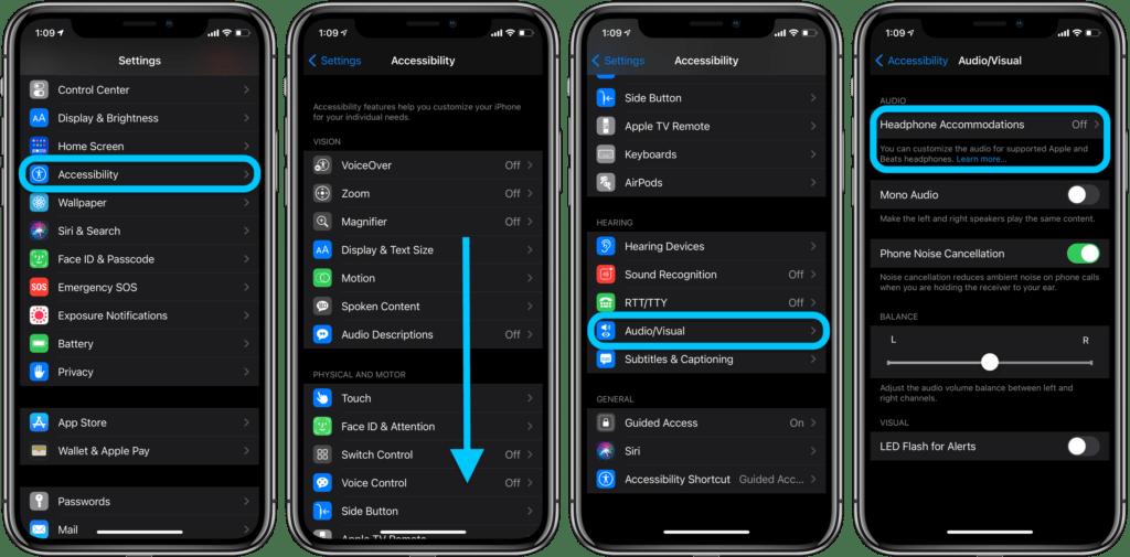 Personalizzare l'audio delle cuffie su iPhone e iPad  1