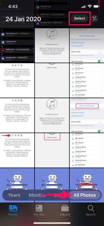 Eliminare tutte le foto da iPhone 3