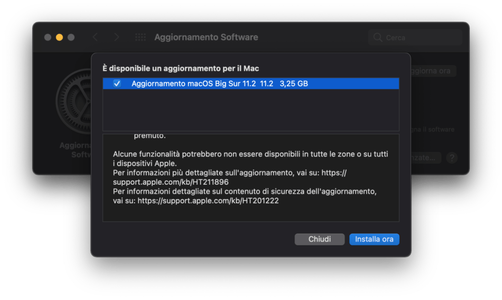 Download di MacOS 11.2
