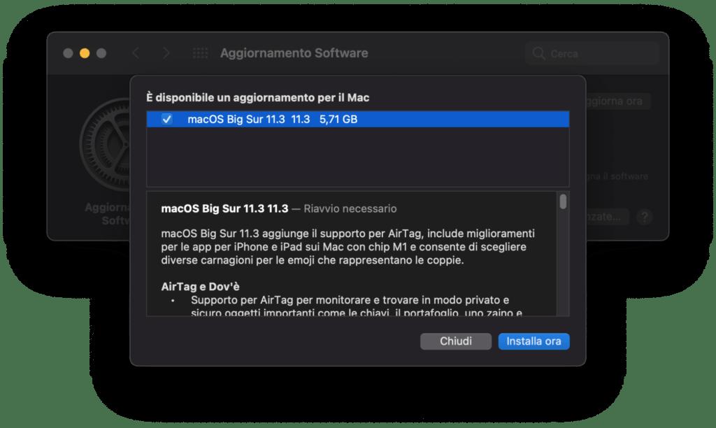 Download di MacOS 11.3